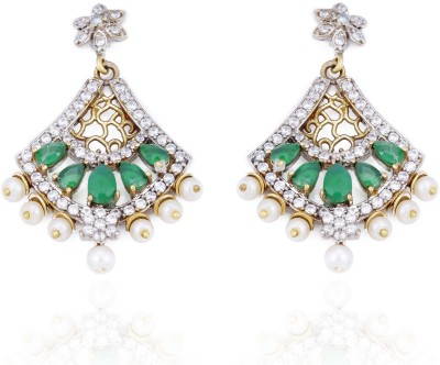 Aapno Rajasthan Cubic Zirconia, Pearl, Emerald Alloy Drop Earring