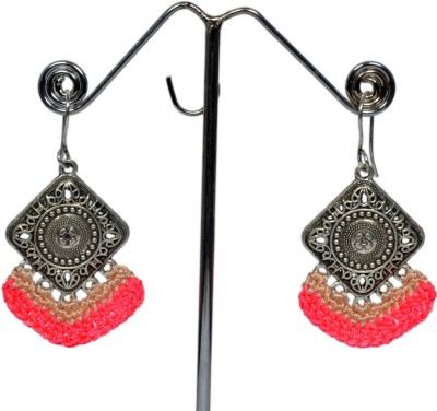 Angelfish Neon colour Thread work with German Silver finding Metal Dangle Earring