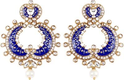 Radius Blue Sparkle Zircon Metal Chandbali Earring