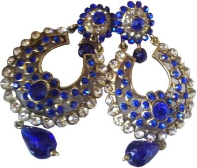 Gliding Blowing Blue Zircon Brass Chandbali Earring
