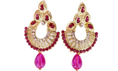 NM Products Pink Alloy Chandbali Earring