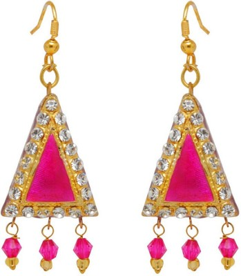 Jaipur Mart Triangle Pink Lac With Shiny Alloy Drop Earring