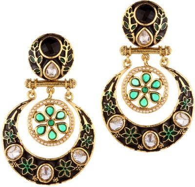 Trinketbag Indigo and Green Gol Chakkar Alloy Chandelier Earring
