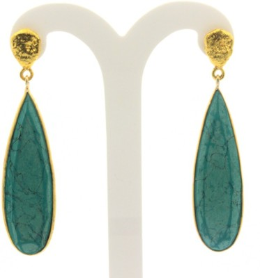 Eighth Fold Azure Blue Earrings Brass Dangle Earring