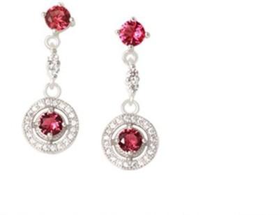 TUAN stunning dangle Diamond, Cubic Zirconia, Ruby Sterling Silver Drop Earring
