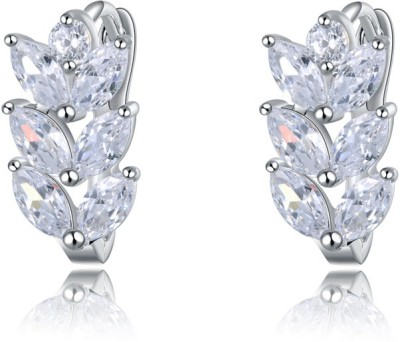 Wearyourfashion Sequence Sparkling Leaves Cubic Zirconia Alloy Clip-on Earring