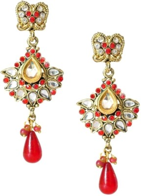 Fashionography The Ethnic Red & White Alloy Drop Earring