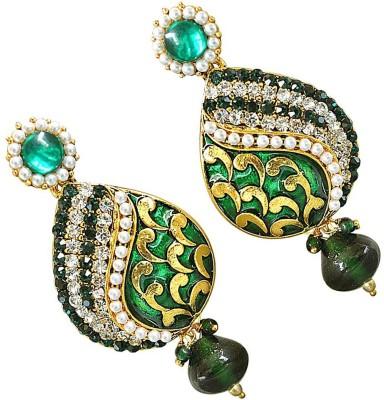 Surat Diamond Green Petals Metal Chandbali Earring