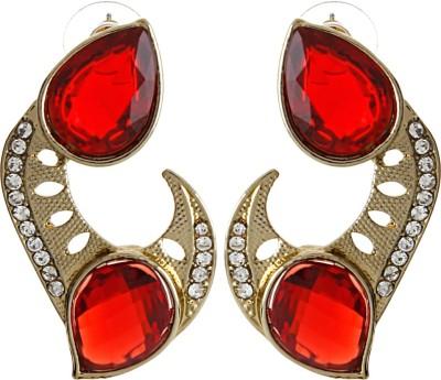 Radius Red Twin Zircon Metal Stud Earring