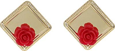 Niara Square Drop Red Rose Metal Chandelier Earring