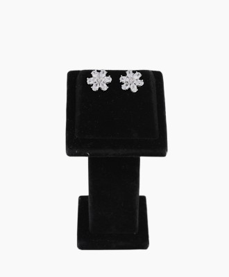 Shining Jewel Flower Sparkle Cubic Zirconia Brass Stud Earring