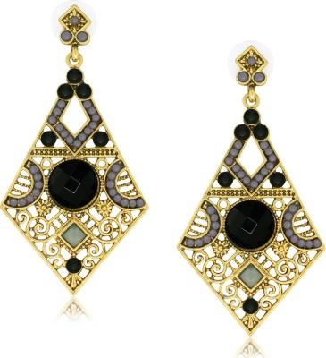 Spargz Funkky Diamond Shape Black Alloy Chandelier Earring