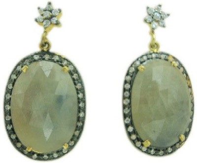 The Gems Gallery TGG-EAR-8555049851160-Beige Silver Drop Earring