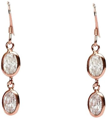 LeCalla Rose Gold CZ Stone Sterling Silver Dangle Earring
