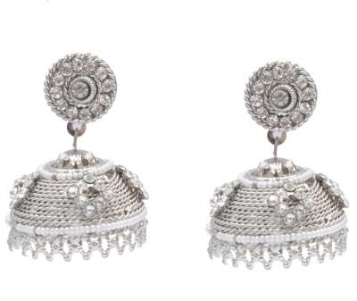 Neelam Platinums light weight pearl zumki with tops Alloy Jhumki Earring