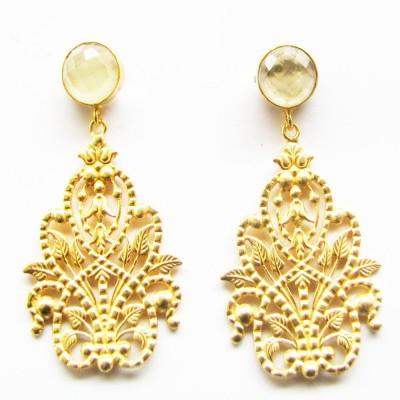 Gharaz semi precious Gold plated Quartz Brass Dangle Earring