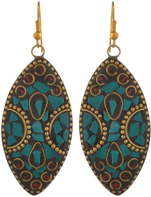 Blacksmith Tribal Green Crystal Metal Drop Earring