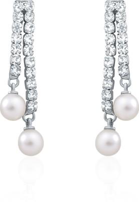 Oviya Lustrous Pearl Crystal, Pearl Alloy, Brass Dangle Earring