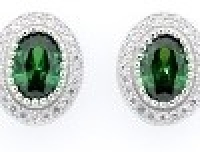 Glitz Design GlitzDesign Emerald Simulated Sapphire Stud Earrings Cubic Zirconia Sterling Silver Stud Earring