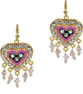 Artisan Pink Heart Stone Metal Dangle Earring