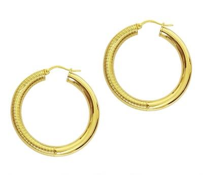 Mehrunnisa 18k Gold plated Round For Women Metal Hoop Earring