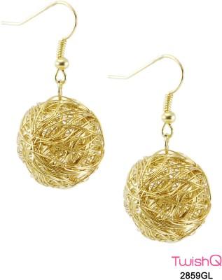 TwishQ Cute Wire Ball Danglers In Golden Alloy Dangle Earring