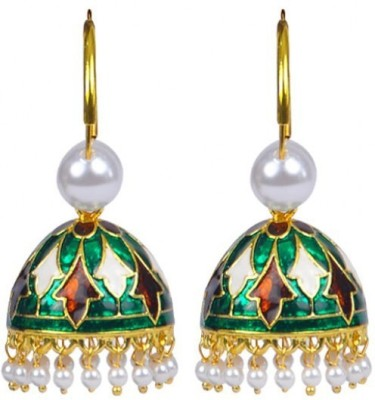 Jillcart Gold Plated Green Color Stylish Jhumka Pearl Copper Jhumki Earring