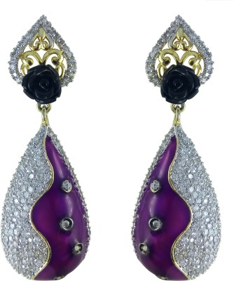 YUVEN Multi-Color Enamel With AD Zircon Brass, Alloy Drop Earring