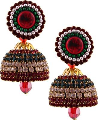 Jaipur Raga Hancrafted Multicolor Diamond Jhumka Brass Jhumki Earring