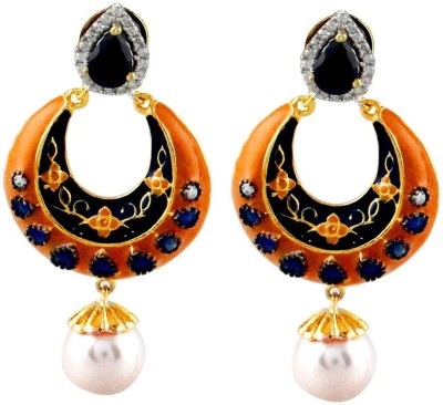 Gehnamart Orange Aesthetic Pearl Alloy Chandbali Earring