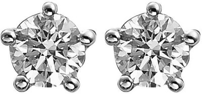 Dilan Jewels Round Brilliant Cut American Diamond Silver Studs For Men And Women Sterling Silver Stud Earring