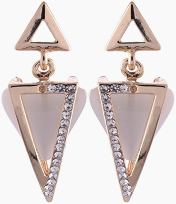 Gliteri Triangular Evergreen Collections Moonstone Alloy Drop Earring