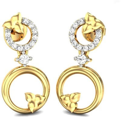 Candere Saras Yellow Gold 14kt Diamond Drop Earring