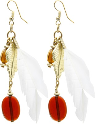 Galz4ever Feather & Gold Leaf Alloy Dangle Earring