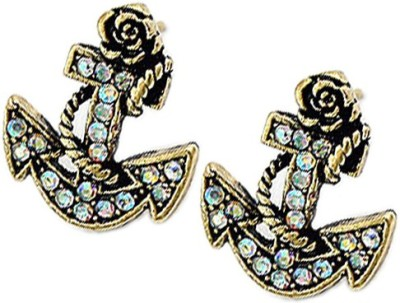 Young & Forever Nautical Anchor Alloy, Crystal Stud Earring