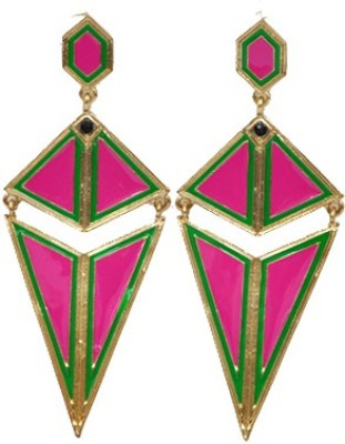 WoW Pink Strip Triangle Alloy Drop Earring