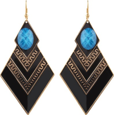 Gracent Black and Blue Diamond shaped Metal Dangle Earring
