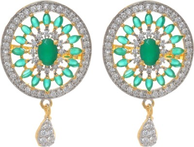 Gliteri sparkling oval american diamond Brass Chandelier Earring