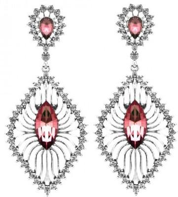 Silver Shoppee The Glitterati Crystal, Cubic Zirconia Metal Chandelier Earring