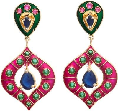My Sara Multicolor Dangler Cubic Zirconia Brass, Copper Drop Earring