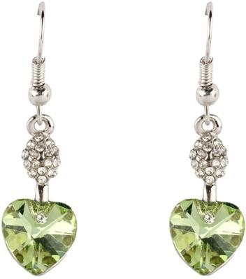 Aaishwarya Green Heart Crystal Alloy Dangle Earring