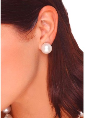 Aadalika 12mm White Pearl Piercing Crystal Alloy Stud Earring