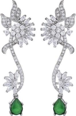 Dilan Jewels Silver Green Royals Zircon Silver Drop Earring