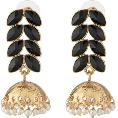 Art Nouveau Black Colour Pearl Design Fancy Brass Jhumki Earring
