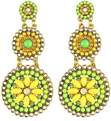 Young & Forever Bohemian Lemon Yellow and Green Beads Alloy, Resin Drop Earring