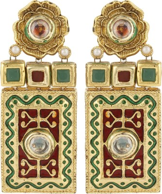 Dilan Jewels Bold Kunadan Meena Beads Alloy Dangle Earring