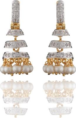 Chaahat Fashion Jewellery Fancy Designed Cubic Zirconia Copper Jhumki Earring