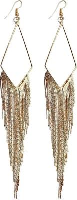 Mehrunnisa Fashion Gold Tone Long Tassel Metal Tassel Earring