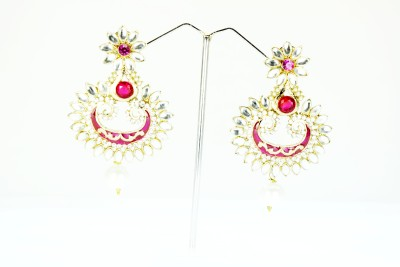 Chouhan Stylish white drop Metal Chandbali Earring