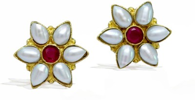 Jaipur Mart Flower Shape Shiny Crystal With Maroon Color AD Tops Brass Stud Earring